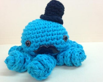 Crochet Octopus with Mustache and Top hat