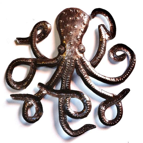 """Handmade Octopus Sculpture, Recycled Metal Ocean Wall Art, Haitian Art indoor outdoor 23""""x 23"""""""