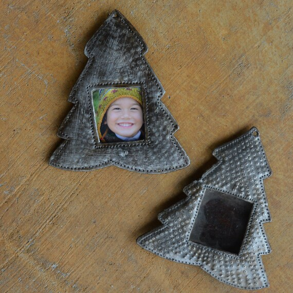 """Ornament, Christmas Decor, Frame, Hang Tag, Recycled Metal Art from Haiti, 4"""" x 4 1/2"""" (sold in sets of 2)"""