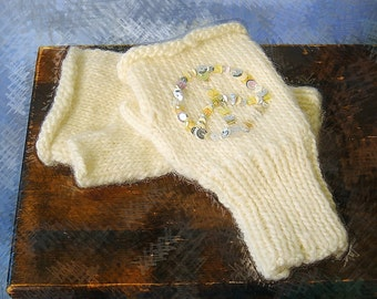 Sequin embellish, fingerless mittens