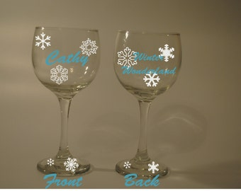 Snowflakes Snowing Wine Glass Name/Wording personalized (Free) Winter wonderland, Let it snow