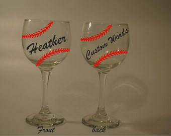 Baseball Softball Team Sport Wine Glass Name/Wording personalized (Free)