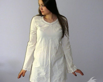 Slavic Tunic- Folk Medieval Tunic for LARP and reenactment. Made to order. Natural cotton color. Custom sizes.