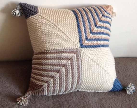 Knitted Cushion / Pillow Cover for Sofa / Couch, Handmade in Geometric Pattern (multi-colour: white, light brown and blue stripes)