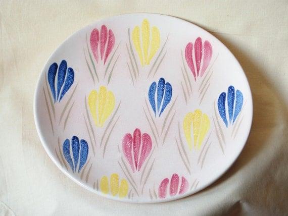 Upsala Ekeby Vintage Big Plate Spring Crocuses