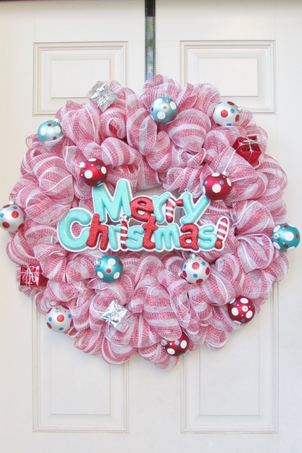 Christmas Wreath--Dr. Seuss Themed--glitter ornaments