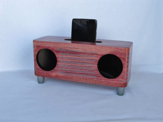 Smartphone & Iphone Wood Sound Box Amplifier - Hand Crafted Solid Wood Sound Box – Radio Themed, Black Cherry Stained