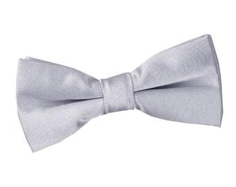 Satin Silver Boy's Bow Tie