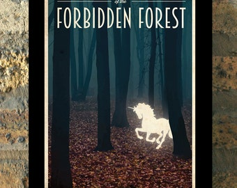 FORBIDDEN FOREST Harry Potter Travel Poster Vintage Print Wall Art House Warming New Apartment