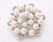 Rhinestone Pearl Wedding Brooch Embellishment Crystal Silver Pearl Brooches Bridal Dress Sash Cake Neckalce DIY Jewelry Crafts Pearl Broach