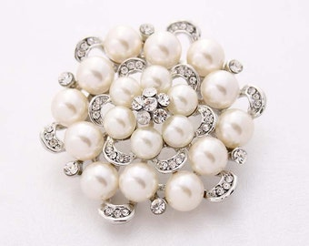 Rhinestone Pearl Brooch, Crystal Pearl Brooches, Pearl Bridal Brooch, Rhinestone Wedding Brooch, Pearl Brooches for Bouquet Wedding Crafts