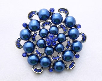 Midnight Blue Pearl Broach Wedding Embellishment Bridal Bouquet Broaches Sash Cake Neckalce DIY Jewelry Rhinestone Navy Blue Broach