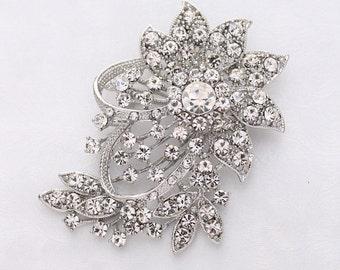 Rhinestone Brooch Wedding Bridal, Silver Crystal Brooch, Diamante Broach, Bouquet Broaches, Rhinestone Brooches, Rhinestone Pins