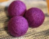 felted wool dyer balls // set of three, darker purple (jam) // eco-friendly laundry