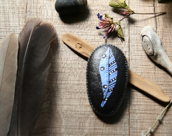 Blue feather painted river rock   paperweight   rustic decor