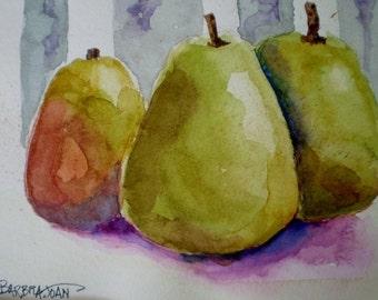 Pear painting,  original  watercolor, kitchen art, fruit painting