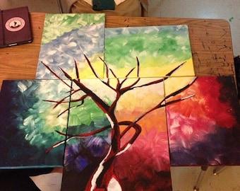 Multiple canvas tree painting