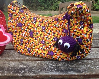 Small Bag. 27cm by 14. Candy corn with Spiders