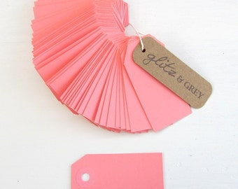 Pink Luggage Tags | Pink Paper Small Gift Tag | Set of 50 | Pink Wedding Favor Tags | Pink Party Supplies | Baby Shower Pink Tags Glitz&Grey