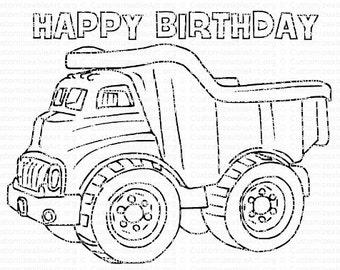 Dump Truck Printable Birthday Party Printables Coloring Page Favor