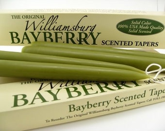 "Williamsburg Bayberry Candles Tapers with Bayberry Candle Legend - Bayberry Scented - Standard Base (7/8"") - 10"" Tall - 1 Pair"