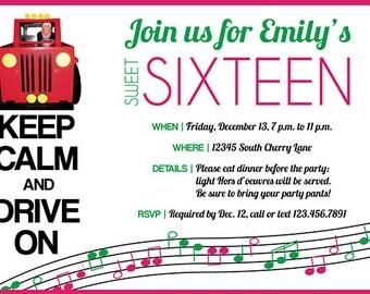 Keep Calm Sweet 16 Birthday Party Invitation Digital Printable - any color, any age