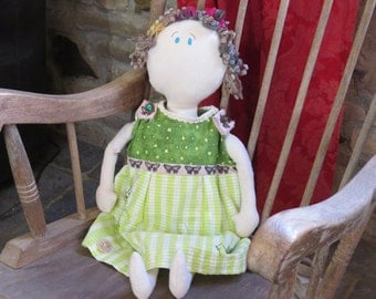 "PROMOTION: One of a kind handmade doll ""Flutterby"""
