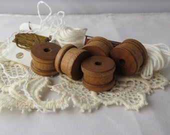 Set of 5 individual traditional wooden sewing/embroidery spools