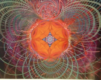 """Psychedelic Visionary Art Poster, """"Dreamcatcher"""" 11x14', Similar to Alex Grey"""
