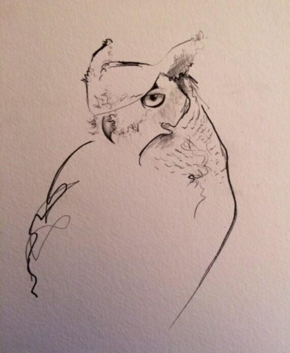 Great Horned Owl Illustration Print  11x14  Original Illustration    Great Horned Owl Illustration