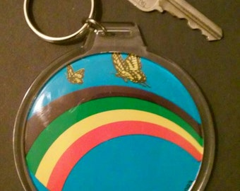1979 butterfly rainbow combo vintage prints to collectors keychain