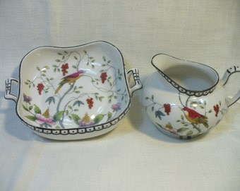 Vintage Nippon bird creamer & sugar set - hand painted Made in Japan - # HS-TP-020