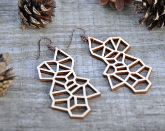 Irregular Laser Cut Wood Earrings