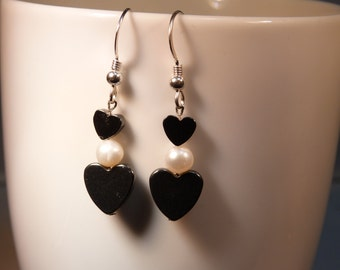 hematite  hearts and pearl earrings