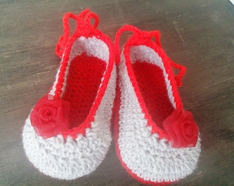 Baby Ballerina Shoes with silk rose embellishments 3-6 months