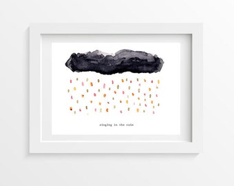 Singing in the rain postcard - printed on thick paper