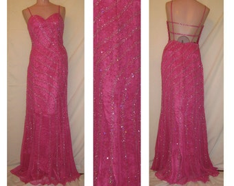 Pink and Silver Beaded Gown