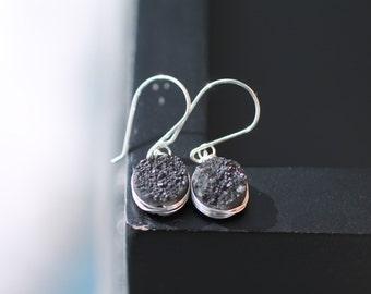 Black Druzy Earrings in Sterling Silver, Real Druzy Earrings, Gemstone Drop Earrings