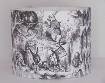 Handmade Lampshade Modern Vintage Alice in Wonderland Mad Hatters Tea Party 20cm 25cm 30cm Lightshade Childrens Novelty