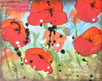 Giclee print canvas of poppies