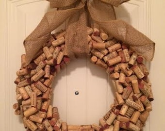 Wine Cork Wreath With Burlap Bow