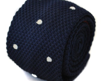 40 x knitted navy and white spotted ties & 10 x knitted maroon and white spotted ties by Frederick Thomas FT1170