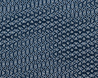 Asa no Ha(Hemp leaves) pattern, indigo blue - Fat Quarter