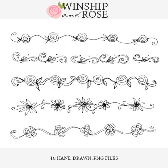 Floral Borders Clip Art 1 Hand Drawn Flower By Winshipandrose