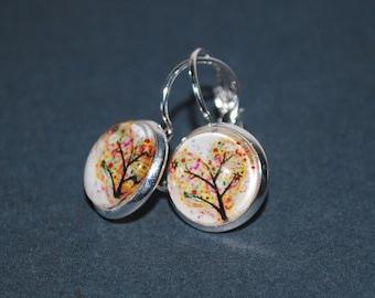 Earrings dangling tree multicolor heart