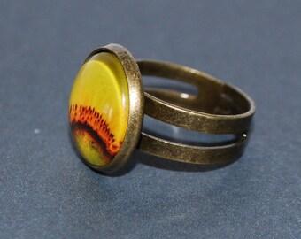 Ring adjustable flower of sunflower