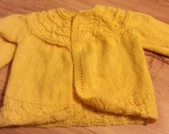 Yellow Spring Time Knit Baby Sweater
