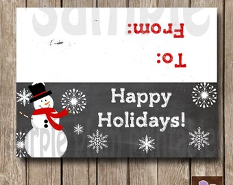 Instant Download - Snowman Bag Topper - Holiday Treat Bag - Christmas Snowman - Print at Home