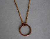 Perfect Copper Circle Necklace / Great Layering Necklace / Dainty Circle Necklace / Minimal Layered Necklace / Simple Copper Pendant