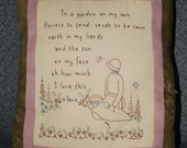 English Garden Hand Embroidered Pillow with Verse